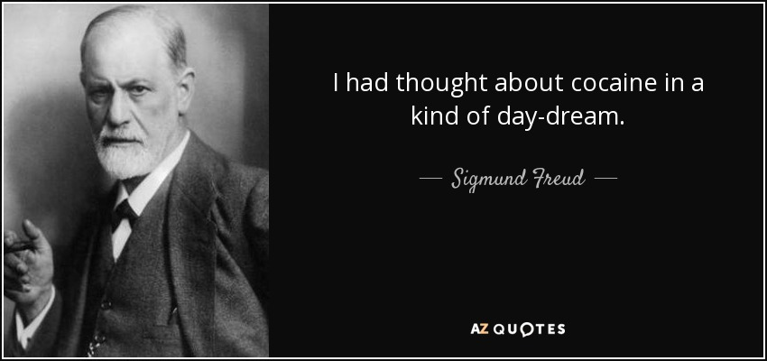 I had thought about cocaine in a kind of day-dream. - Sigmund Freud