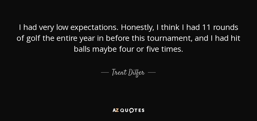 I had very low expectations. Honestly, I think I had 11 rounds of golf the entire year in before this tournament, and I had hit balls maybe four or five times. - Trent Dilfer