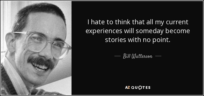 I hate to think that all my current experiences will someday become stories with no point. - Bill Watterson