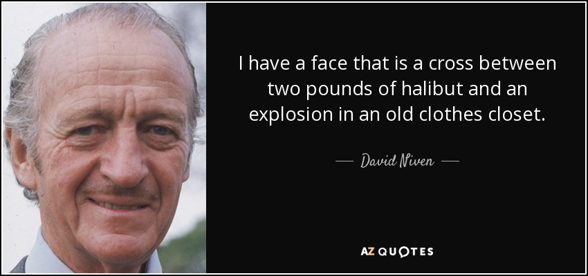 I have a face that is a cross between two pounds of halibut and an explosion in an old clothes closet. - David Niven