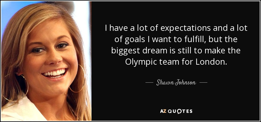 Shawn Johnson quote: I have a lot of expectations and a ...