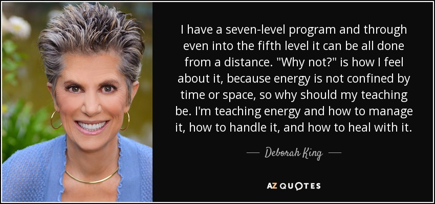 I have a seven-level program and through even into the fifth level it can be all done from a distance.
