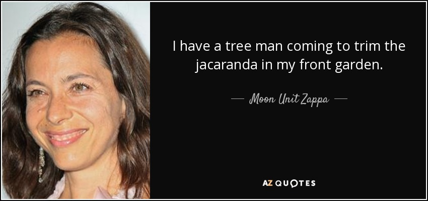 I have a tree man coming to trim the jacaranda in my front garden. - Moon Unit Zappa