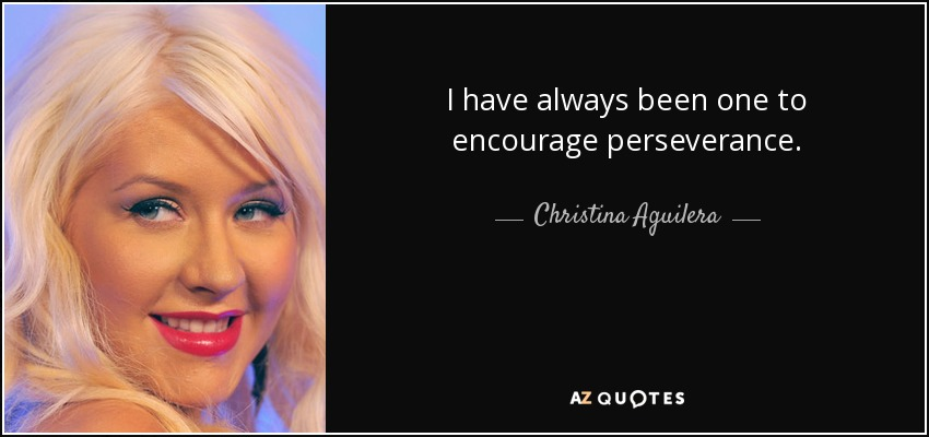 I have always been one to encourage perseverance. - Christina Aguilera