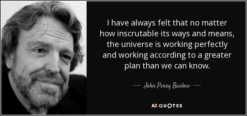 I have always felt that no matter how inscrutable its ways and means, the universe is working perfectly and working according to a greater plan than we can know. - John Perry Barlow