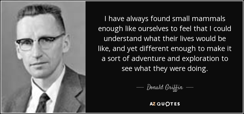 I have always found small mammals enough like ourselves to feel that I could understand what their lives would be like, and yet different enough to make it a sort of adventure and exploration to see what they were doing. - Donald Griffin