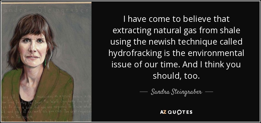 I have come to believe that extracting natural gas from shale using the newish technique called hydrofracking is the environmental issue of our time. And I think you should, too. - Sandra Steingraber
