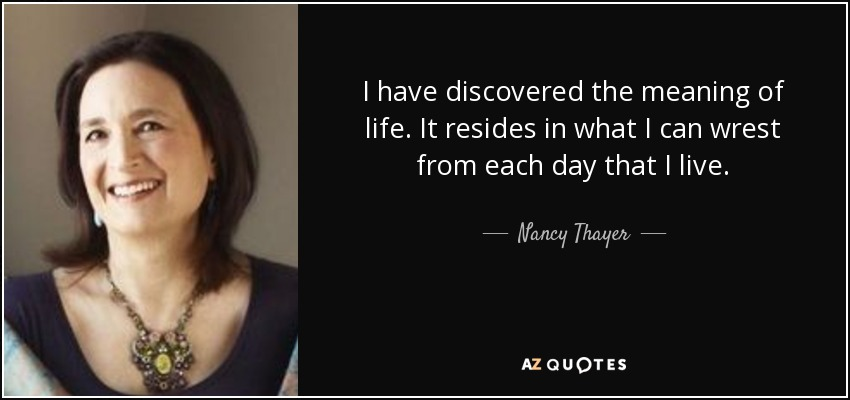 I have discovered the meaning of life. It resides in what I can wrest from each day that I live. - Nancy Thayer