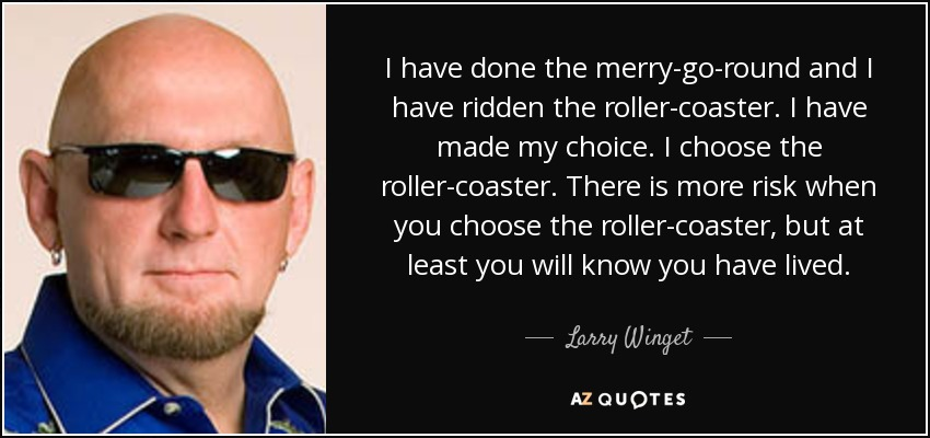 I have done the merry-go-round and I have ridden the roller-coaster. I have made my choice. I choose the roller-coaster. There is more risk when you choose the roller-coaster, but at least you will know you have lived. - Larry Winget