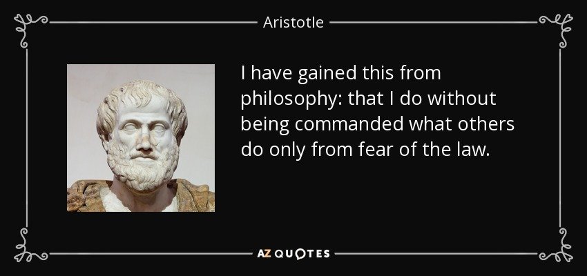 I have gained this from philosophy: that I do without being commanded what others do only from fear of the law. - Aristotle