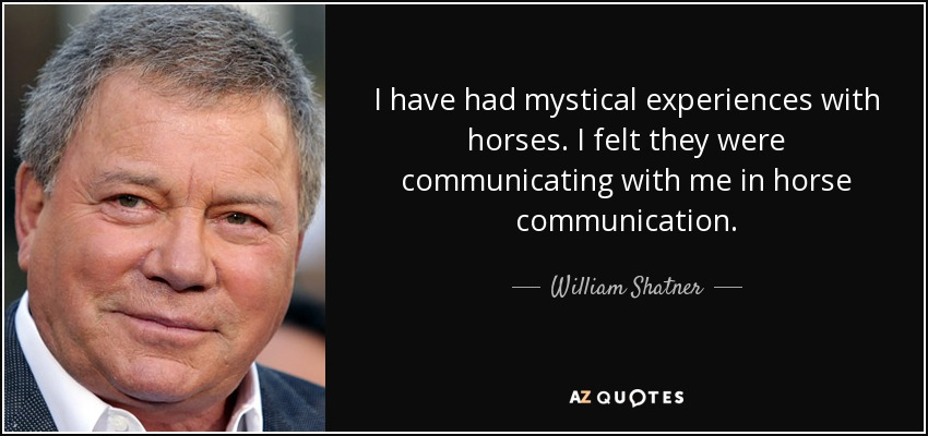 I have had mystical experiences with horses. I felt they were communicating with me in horse communication. - William Shatner