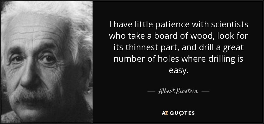 I have little patience with scientists who take a board of wood, look for its thinnest part, and drill a great number of holes where drilling is easy. - Albert Einstein
