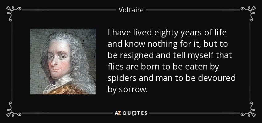 I have lived eighty years of life and know nothing for it, but to be resigned and tell myself that flies are born to be eaten by spiders and man to be devoured by sorrow. - Voltaire