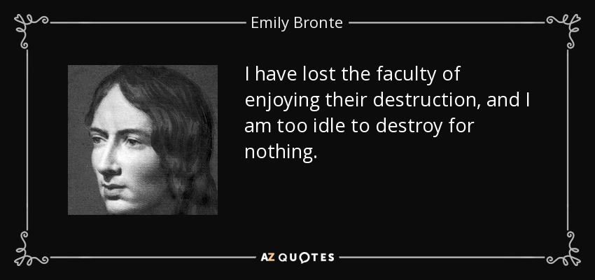 I have lost the faculty of enjoying their destruction, and I am too idle to destroy for nothing. - Emily Bronte