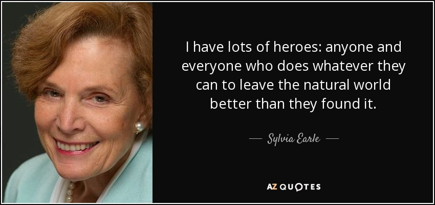 I have lots of heroes: anyone and everyone who does whatever they can to leave the natural world better than they found it. - Sylvia Earle