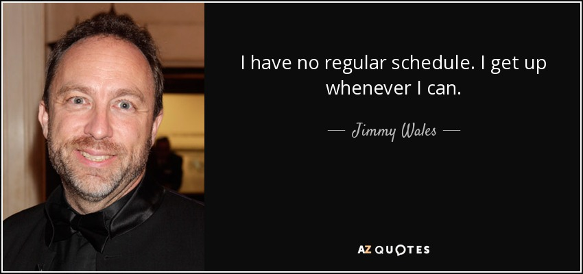 I have no regular schedule. I get up whenever I can. - Jimmy Wales