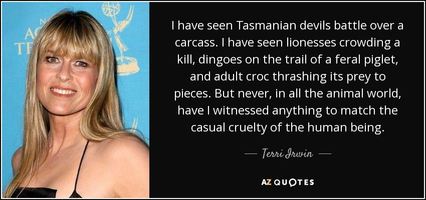 I have seen Tasmanian devils battle over a carcass. I have seen lionesses crowding a kill, dingoes on the trail of a feral piglet, and adult croc thrashing its prey to pieces. But never, in all the animal world, have I witnessed anything to match the casual cruelty of the human being. - Terri Irwin
