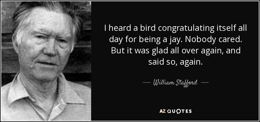 I heard a bird congratulating itself all day for being a jay. Nobody cared. But it was glad all over again, and said so, again. - William Stafford
