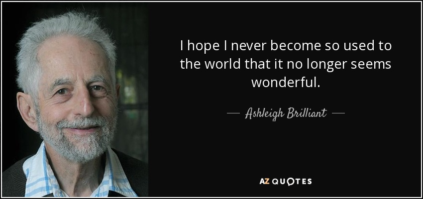 I hope I never become so used to the world that it no longer seems wonderful. - Ashleigh Brilliant