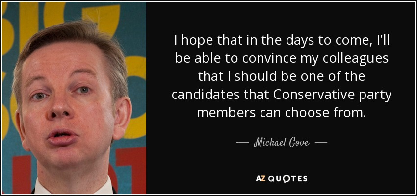 I hope that in the days to come, I'll be able to convince my colleagues that I should be one of the candidates that Conservative party members can choose from. - Michael Gove