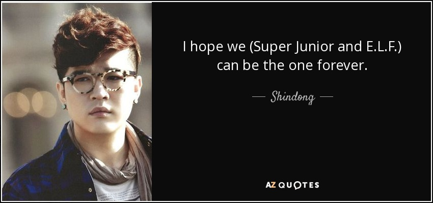 I hope we (Super Junior and E.L.F.) can be the one forever. - Shindong