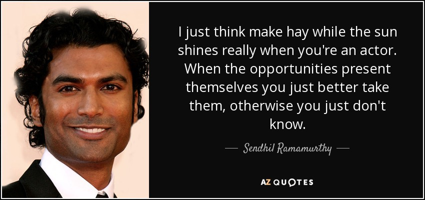 I just think make hay while the sun shines really when you're an actor. When the opportunities present themselves you just better take them, otherwise you just don't know. - Sendhil Ramamurthy