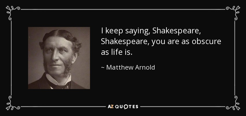 theme of the poem shakespeare by mathew arnold