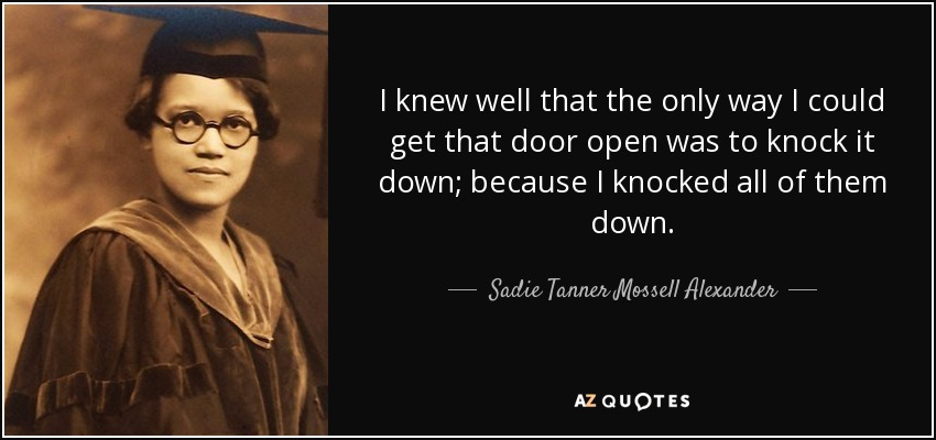 I knew well that the only way I could get that door open was to knock it down; because I knocked all of them down. - Sadie Tanner Mossell Alexander