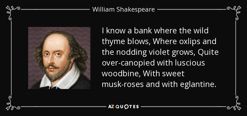 I know a bank where the wild thyme blows, Where oxlips and the nodding violet grows, Quite over-canopied with luscious woodbine, With sweet musk-roses and with eglantine. - William Shakespeare