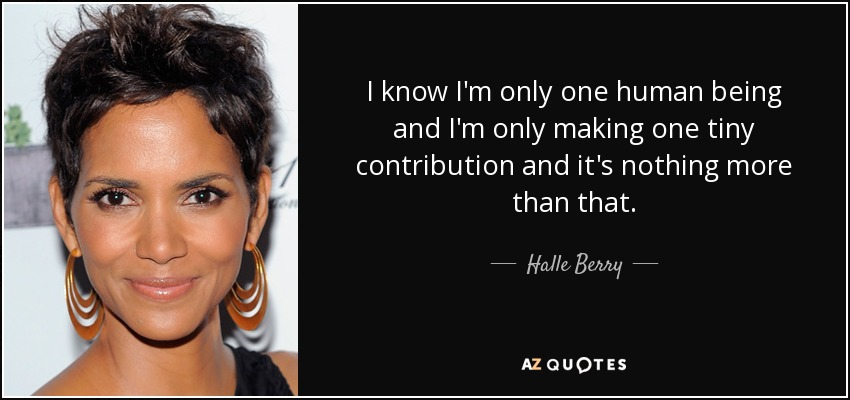 I know I'm only one human being and I'm only making one tiny contribution and it's nothing more than that. - Halle Berry