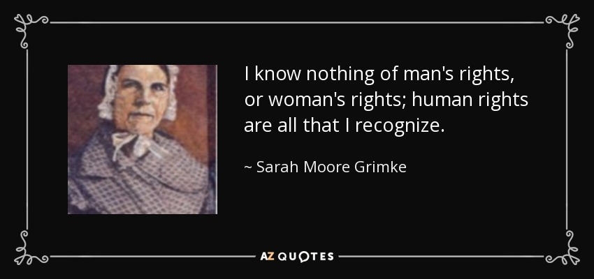 an analysis of angelina grimkes opinions on womens rights in her document angelina grimke urges nort