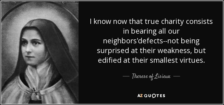 I know now that true charity consists in bearing all our neighbors'defects--not being surprised at their weakness, but edified at their smallest virtues. - Therese of Lisieux