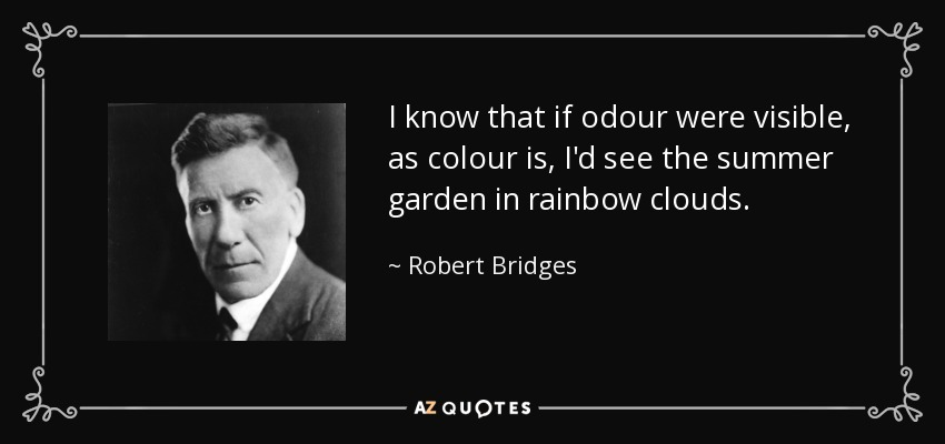 I know that if odour were visible, as colour is, I'd see the summer garden in rainbow clouds. - Robert Bridges
