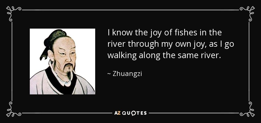 I know the joy of fishes in the river through my own joy, as I go walking along the same river. - Zhuangzi