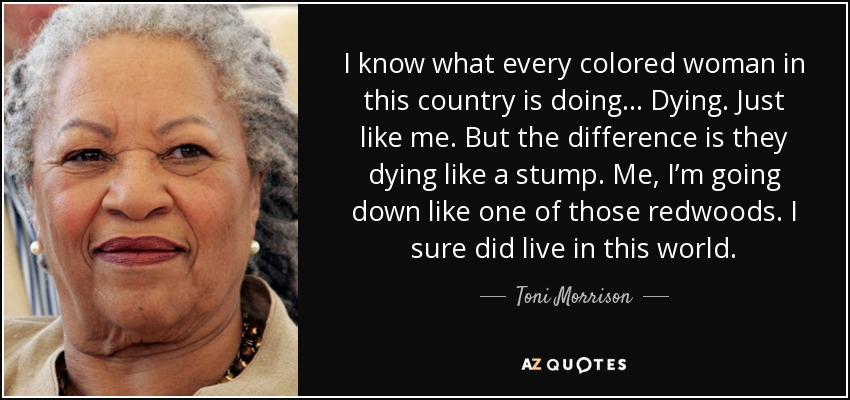 I know what every colored woman in this country is doing... Dying. Just like me. But the difference is they dying like a stump. Me, I'm going down like one of those redwoods. I sure did live in this world. - Toni Morrison