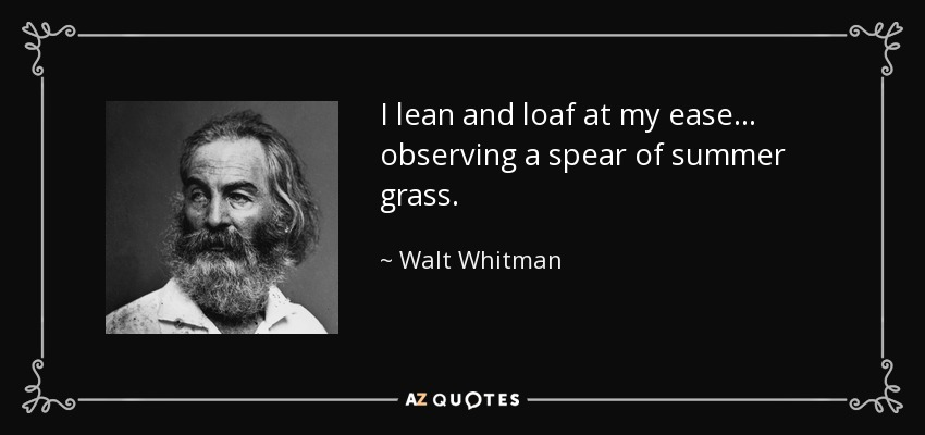 I lean and loaf at my ease... observing a spear of summer grass. - Walt Whitman