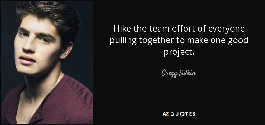 I like the team effort of everyone pulling together to make one good project. - Gregg Sulkin