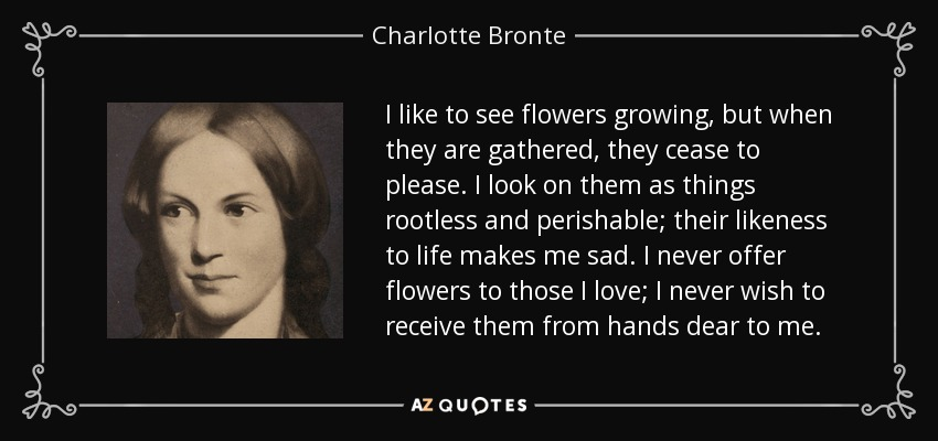 I like to see flowers growing, but when they are gathered, they cease to please. I look on them as things rootless and perishable; their likeness to life makes me sad. I never offer flowers to those I love; I never wish to receive them from hands dear to me. - Charlotte Bronte