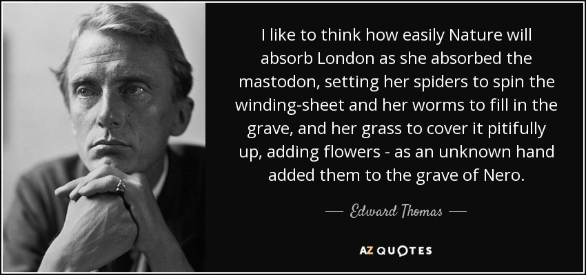 I like to think how easily Nature will absorb London as she absorbed the mastodon, setting her spiders to spin the winding-sheet and her worms to fill in the grave, and her grass to cover it pitifully up, adding flowers - as an unknown hand added them to the grave of Nero. - Edward Thomas