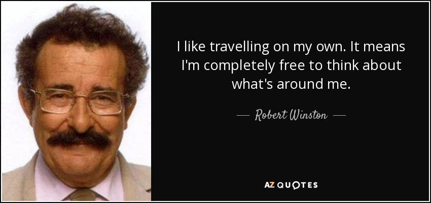 I like travelling on my own. It means I'm completely free to think about what's around me. - Robert Winston