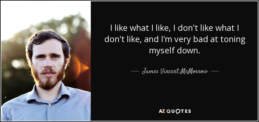 I like what I like, I don't like what I don't like, and I'm very bad at toning myself down. - James Vincent McMorrow