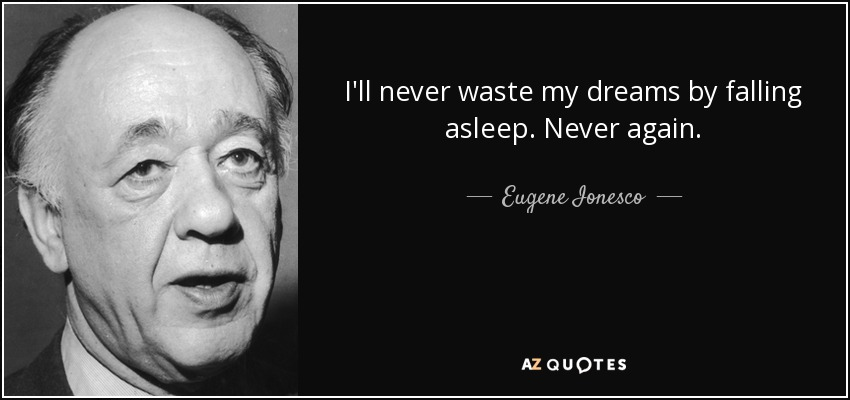 I'll never waste my dreams by falling asleep. Never again. - Eugene Ionesco