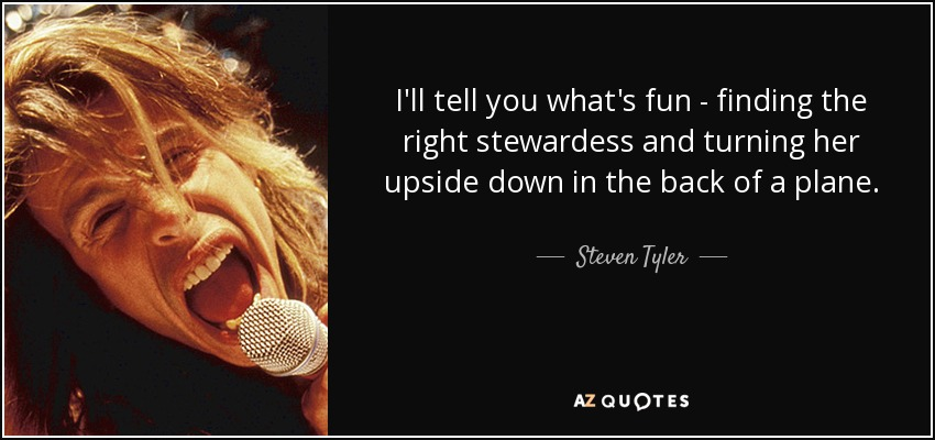 I'll tell you what's fun - finding the right stewardess and turning her upside down in the back of a plane. - Steven Tyler