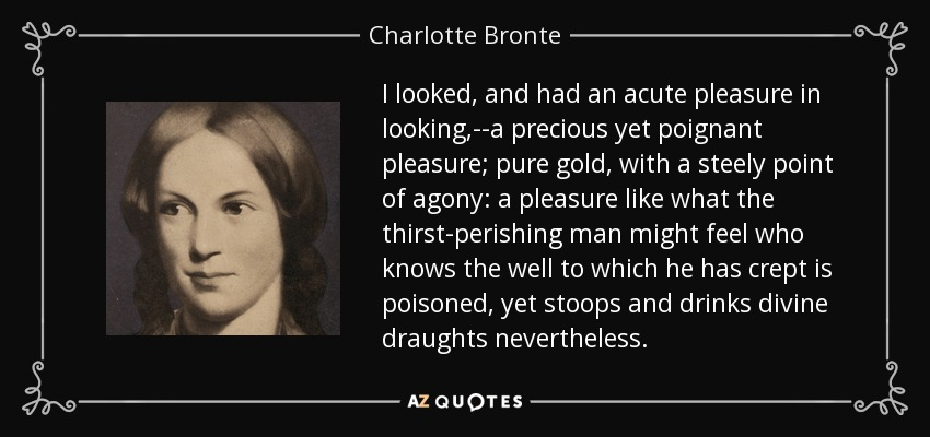 I looked, and had an acute pleasure in looking,--a precious yet poignant pleasure; pure gold, with a steely point of agony: a pleasure like what the thirst-perishing man might feel who knows the well to which he has crept is poisoned, yet stoops and drinks divine draughts nevertheless. - Charlotte Bronte