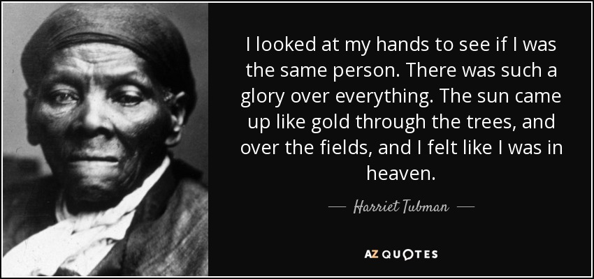 I looked at my hands to see if I was the same person. There was such a glory over everything. The sun came up like gold through the trees, and I felt like I was in heaven. - Harriet Tubman