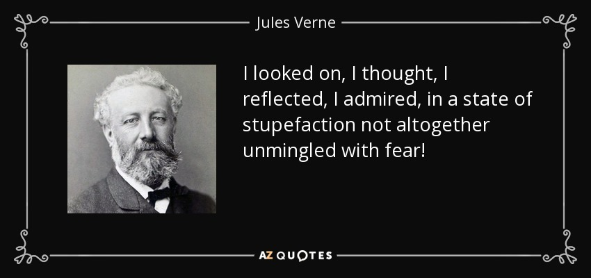 I looked on, I thought, I reflected, I admired, in a state of stupefaction not altogether unmingled with fear! - Jules Verne