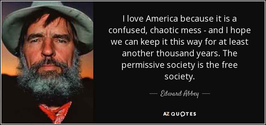 I love America because it is a confused, chaotic mess - and I hope we can keep it this way for at least another thousand years. The permissive society is the free society. - Edward Abbey