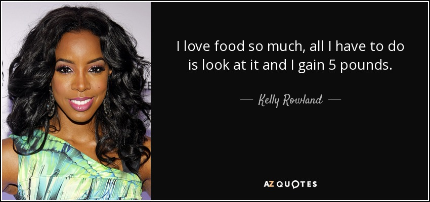I love food so much, all I have to do is look at it and I gain 5 pounds. - Kelly Rowland
