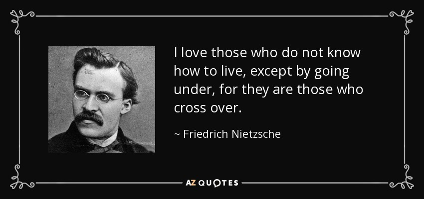 I love those who do not know how to live, except by going under, for they are those who cross over. - Friedrich Nietzsche