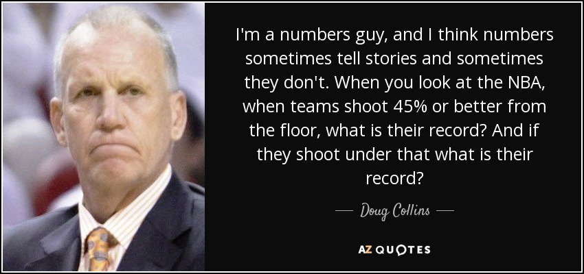 I'm a numbers guy, and I think numbers sometimes tell stories and sometimes they don't. When you look at the NBA, when teams shoot 45% or better from the floor, what is their record? And if they shoot under that what is their record? - Doug Collins